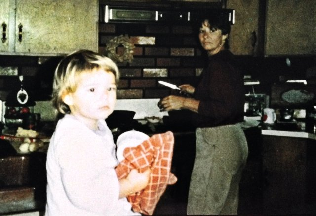 In the kitchen with my grandmother, Ruby.