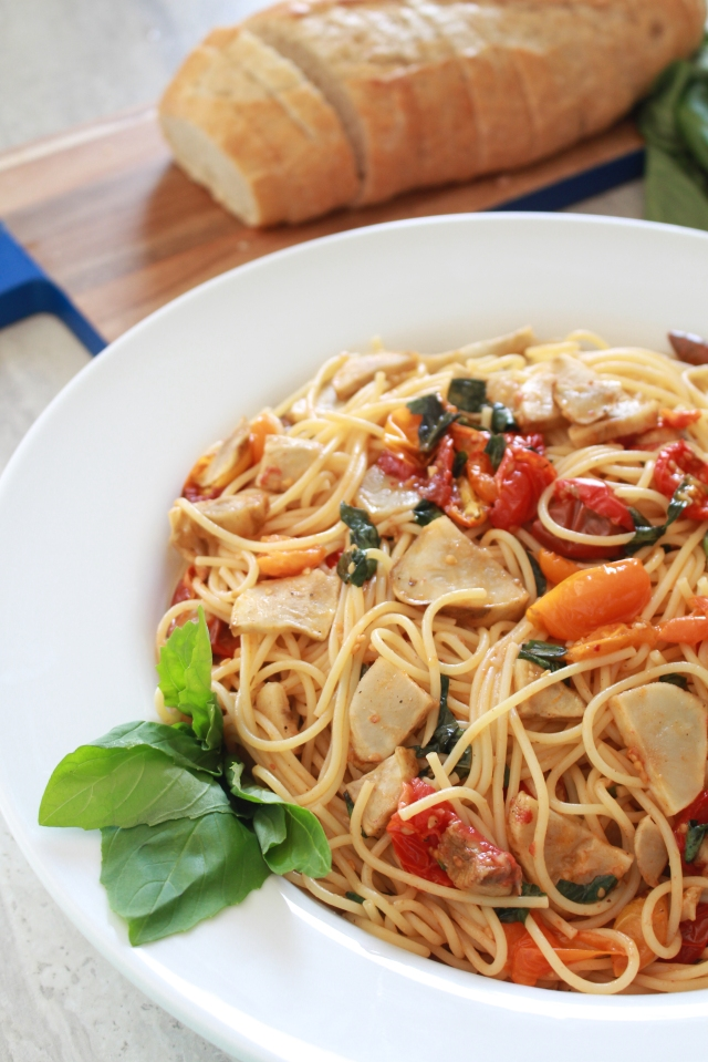 Slow Roasted Tomato & Sunchoke Pasta from The Ruby Kitchen